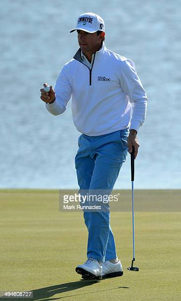 Wade Ormsby of Australia acknowledges the applause from the gallery on the 17th green during the Nordea Masters at the PGA Sweden National on May 30...