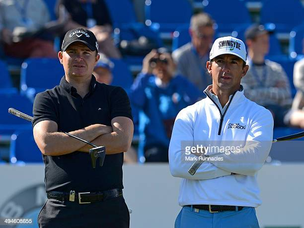 Wade Ormsby of Australia and James Morrison of England waiting to putt on the 18th green during the Nordea Masters at the PGA Sweden National on May...