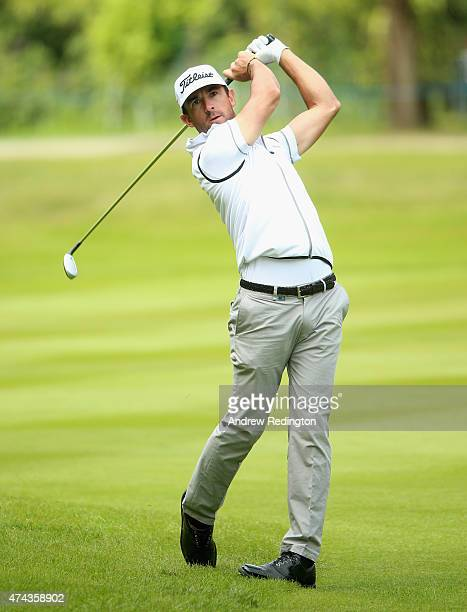 Wade Ormsby of Australia hits his 3rd shot on the 15th hole during day 2 of the BMW PGA Championship at Wentworth on May 22 2015 in Virginia Water...