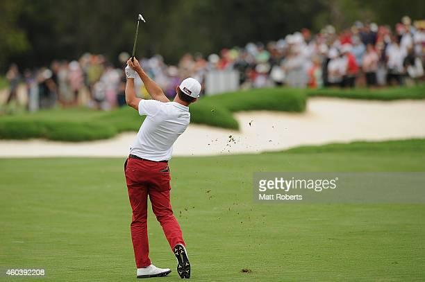 Wade Ormsby of Australia hits his approach shot on the 9th hole during day three of the 2014 Australian PGA Championship at Royal Pines Resort on...