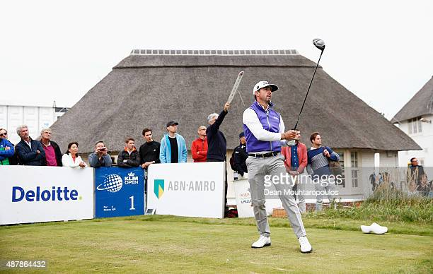 Wade Ormsby of Australia hits his tee shot on the 1st hole during Day 3 of the KLM Open held at Kennemer G CC on September 12 2015 in Zandvoort...
