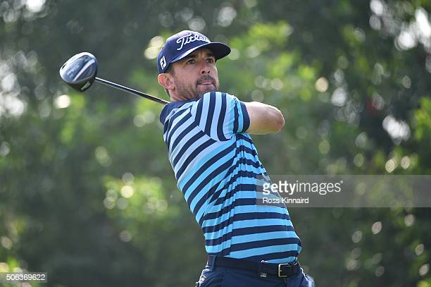 Wade Ormsby of Australia hits his tee shot on the fifth hole during the second round of the Abu Dhabi HSBC Golf Championship at the Abu Dhabi Golf...