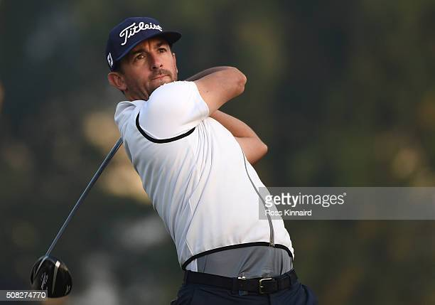 Wade Ormsby of Australia hits his tee shot on the third hole during the first round of the Omega Dubai Desert Classic at The Emirates Golf Club on...