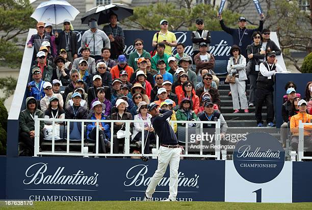 Wade Ormsby of Australia hits his teeshot on the first hole during the third round of the Ballantine's Championship at Blackstone Golf Club on April...