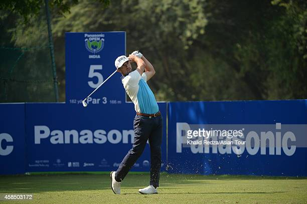 Wade Ormsby of Australia in action during round one of the Panasonic Open India at Delhi Golf Club on November 6 2014 in New Delhi India