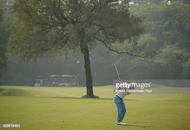 Wade Ormsby of Australia in action during round three of the Panasonic Open India at Delhi Golf Club on November 8 2014 in New Delhi India