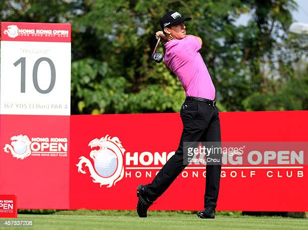 Wade Ormsby of Australia in action during the 2nd round of the 2014 Hong Kong open at The Hong Kong Golf Club at The Hong Kong Golf Club on October...