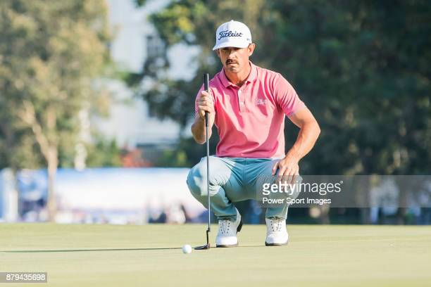 Wade Ormsby of Australia lines up a putt during round four of the UBS Hong Kong Open at The Hong Kong Golf Club on November 26 2017 in Hong Kong Hong...