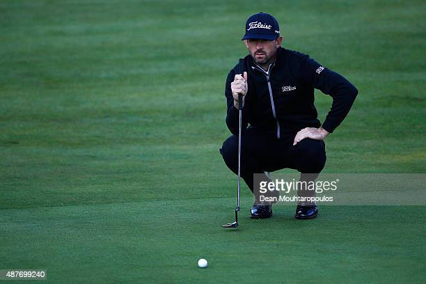 Wade Ormsby of Australia lines up his putt on the 10th hole green during Day 2 of the KLM Open held at Kennemer G CC on September 11 2015 in...