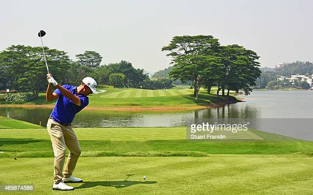 Wade Ormsby of Australia plays a shot during the first round of the Shenzhen International at Genzon Golf Club on April 16 2015 in Shenzhen China