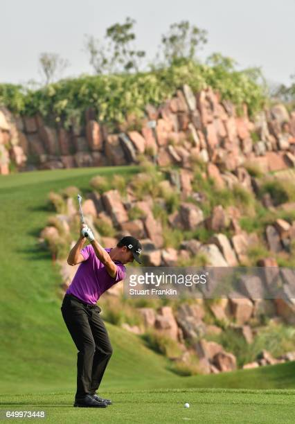 Wade Ormsby of Australia plays a shot during the first round of the Hero Indian Open at Dlf Golf and Country Club on March 9 2017 in New Delhi India