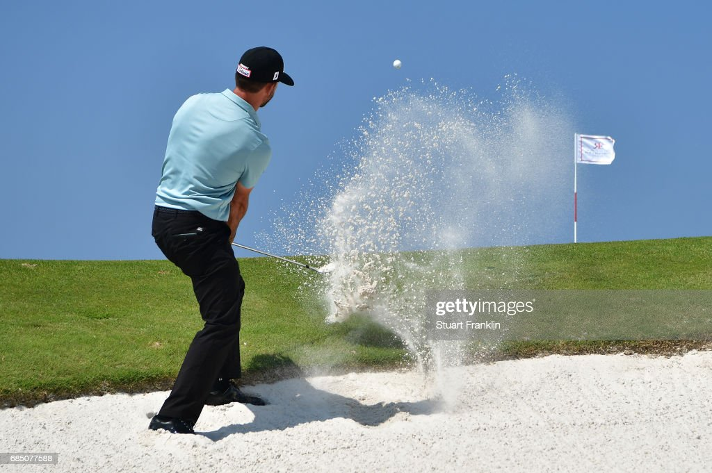 Wade Ormsby of Australia plays a shot from a bunker on the 15th hole during the second round of The Rocco Forte Open at The Verdura Golf and Spa Resort on May 19, 2017 in Sciacca, Italy.