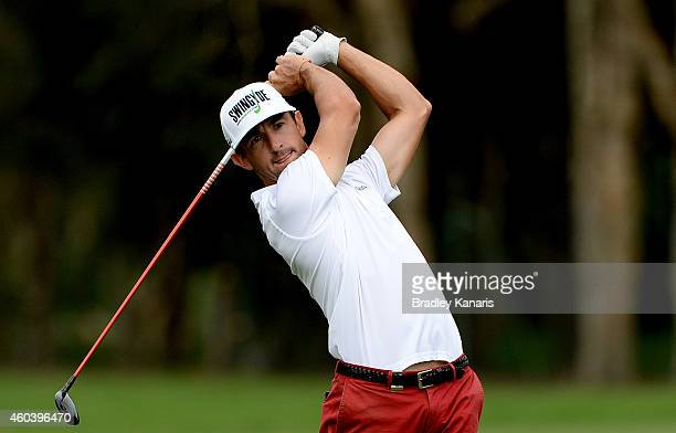 Wade Ormsby of Australia plays a shot on the 15th hole during day three of the 2014 Australian PGA Championship at Royal Pines Resort on December 13...