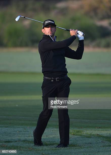 Wade Ormsby of Australia plays his second shot on the 12th hole during the first round of the Commercial Bank Qatar Masters at the Doha Golf Club on...