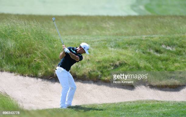 Wade Ormsby of Australia plays his shot on the 14th hole during the first round of the 2017 US Open at Erin Hills on June 15 2017 in Hartford...