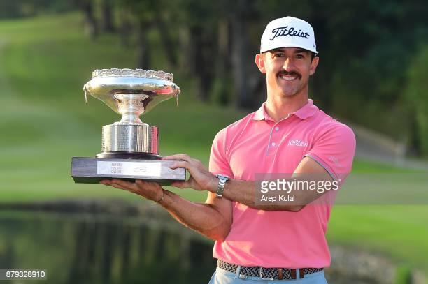 Wade Ormsby of Australia pose with the trophy after winning the UBS Hong Kong Open at The Hong Kong Golf Club on November 26 2017 in Hong Kong Hong...