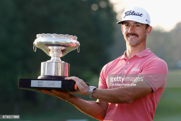 Wade Ormsby of Australia poses with his trophy after winning the UBS Hong Kong Open 2017 on November 26 2017 in Hong Kong Hong Kong