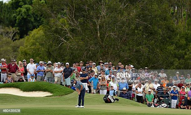 Wade Ormsby of Australia putts on the 8th hole during day four of the 2014 Australian PGA Championship at Royal Pines Resort on December 14 2014 in...