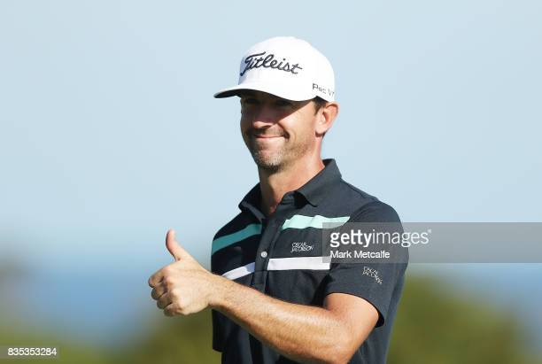 Wade Ormsby of Australia smiles on the 18th green during day three of the 2017 Fiji International at Natadola Bay Championship Golf Course on August...