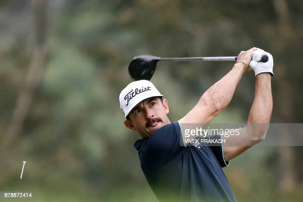Wade Ormsby of Australia tees off on the 11th hole during round three of the Hong Kong Open tournament at the Hong Kong Golf Club on November 25 2017...