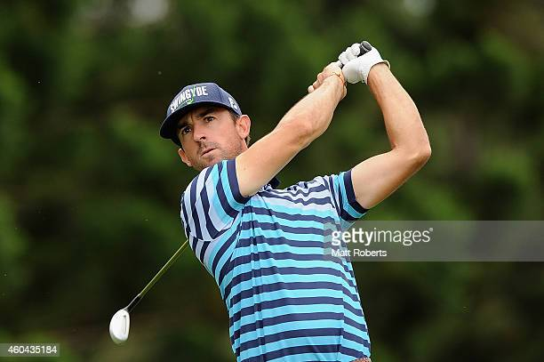 Wade Ormsby of Australia tees off on the 8th hole during day four of the 2014 Australian PGA Championship at Royal Pines Resort on December 14 2014...