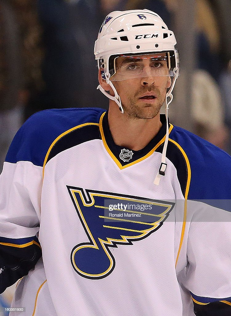 <a gi-track='captionPersonalityLinkClicked' href=/galleries/search?phrase=Wade+Redden&family=editorial&specificpeople=201471 ng-click='$event.stopPropagation()'>Wade Redden</a> #6 of the St. Louis Blues at American Airlines Center on January 26, 2013 in Dallas, Texas.
