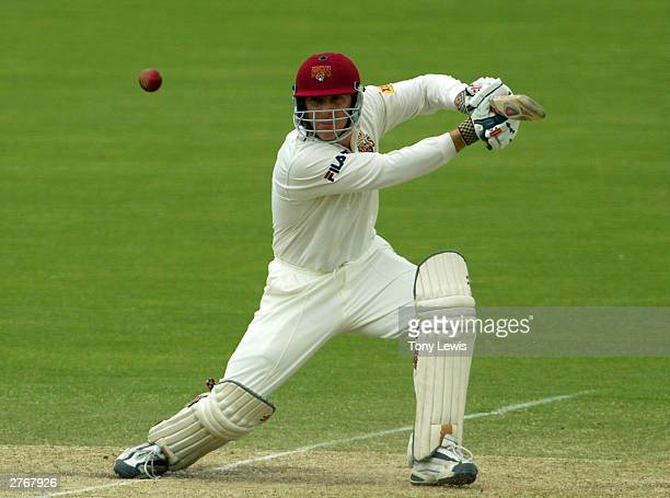 Wade Seccombe drives John Davison through the covers during the Pura Cup match between the Southern Redbacks and the Queensland Bulls at Adelaide...