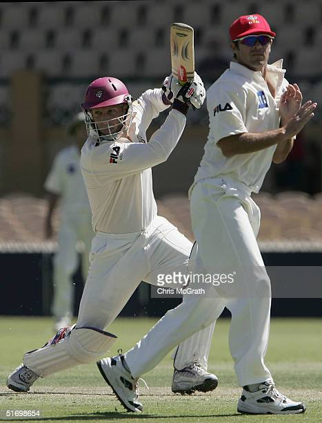 Wade Seccombe of the Bulls hits out during the Pura Cup match between the Queensland Bulls and the Southern Redbacks played at Adelaide Oval on...