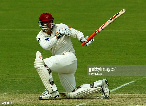 Wade Seccombe pulls Mark Higgs for 4 in the Pura Cup match between the Southern Redbacks and the Queensland Bulls at Adelaide Oval November 27 2003...