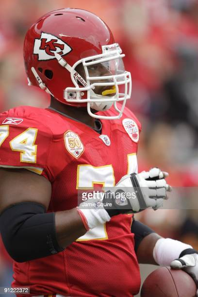 Wade Smith of the Kansas City Chiefs looks on before the game against the Oakland Raiders at Arrowhead Stadium on September 20 2009 in Kansas City...