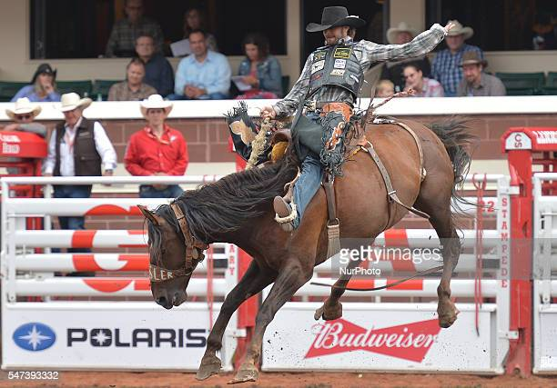 Wade Sundells from Boxholm IA on Center Stage during Bareback bronc competition at the Calgary Stampede 2016 Twenty of the world's top competitors in...