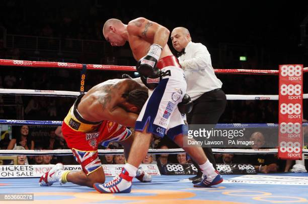 Wadi Camacho on the floor during the WBC International Silver cruiserweight title bout against Stephen Simmons at the Braehead Arena Glasgow