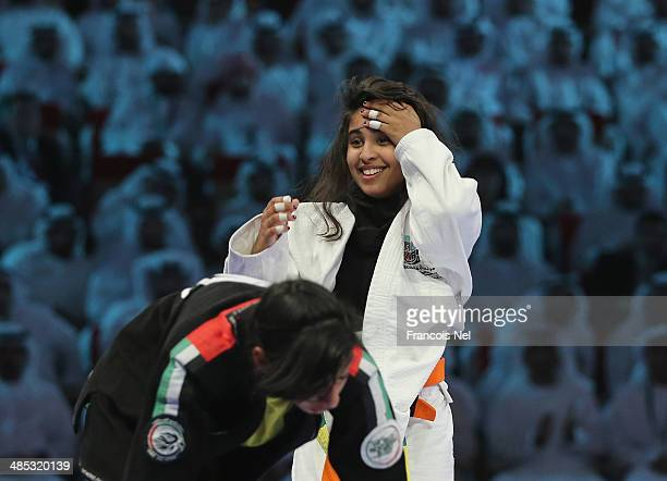 Wadima Saeed Alyafel of United Arab Emirates celebrates after winning against Alyazah Khalfan Alshehyari of United Arab Emirates in the Girls Junior...