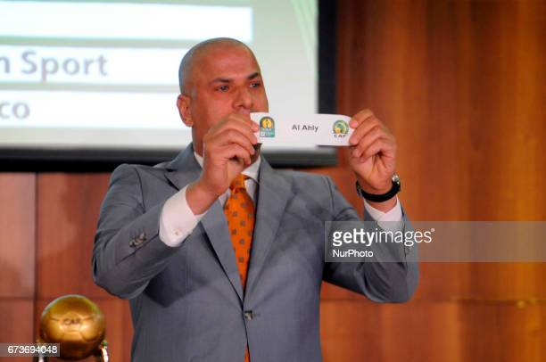 Wael Gomaa show the Al Ahly With Coton Sport Wydad Athletic Club and Zanaco in Group D during the procedure for the draw of the 21st edition of the...