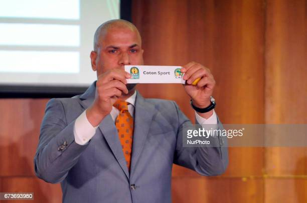 Wael Gomaa show the Coton Sport With Al Ahly Wydad Athletic Club and Zanaco in Group D during the procedure for the draw of the 21st edition of the...
