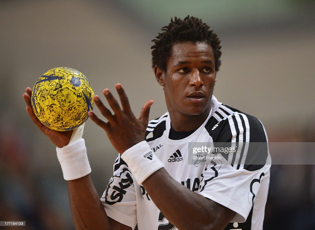 Wael Jallouz of Kiel in action during the DKB supercup match between THW Kiel and Flensburg Handewitt at the OVB arena on August 20, 2013 in Bremen, Germany.