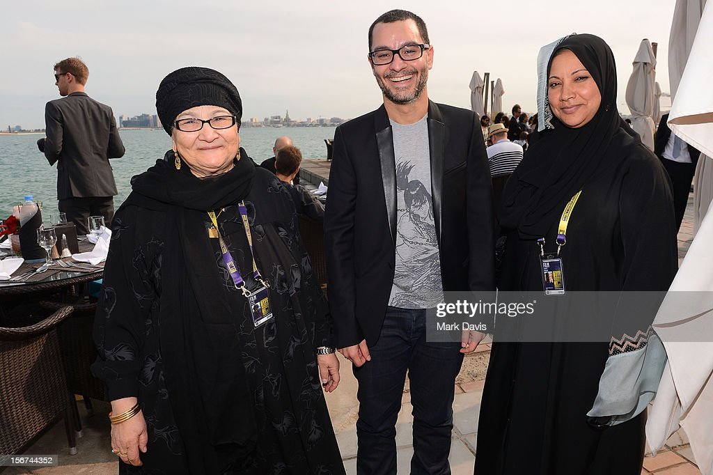 Wafaa Kasem, Resident Filmmaker and Programmer at DFI Chadi Zeneddine and Badria Hemida attend the Arab Guests Lunch during the 2012 Doha Tribeca Film Festival at the Al Mourjan Restaurant on November 20, 2012 in Doha, Qatar.