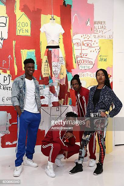 Waffle Crew Andrew 'Goofy' Saunders Joel 'Aero Ace' Leitch and Bryan 'Bj' Sibblies at the alice olivia x Basquiat CFDA Capsule Collection launch...