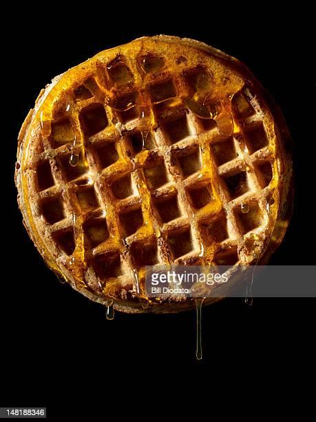 waffle on black background