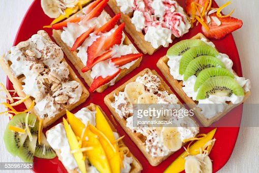 Waffle with strawberry fruits. : Stock Photo