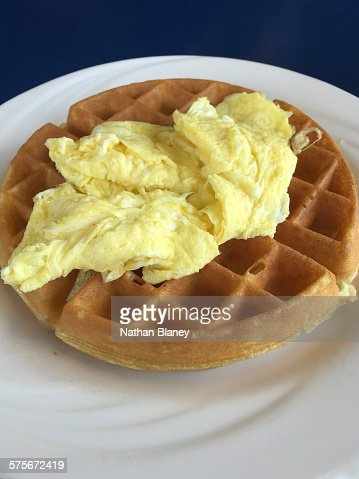 Waffles and eggs : Stock Photo