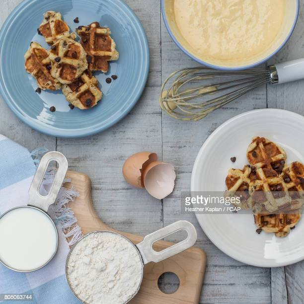 Waffles and ingredients