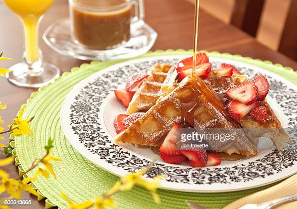 Waffles and strawberries