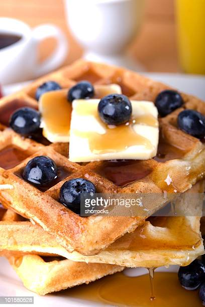 Waffles and Syrup with blueberries
