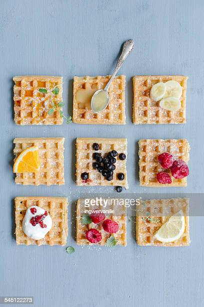 Waffles with different toppings