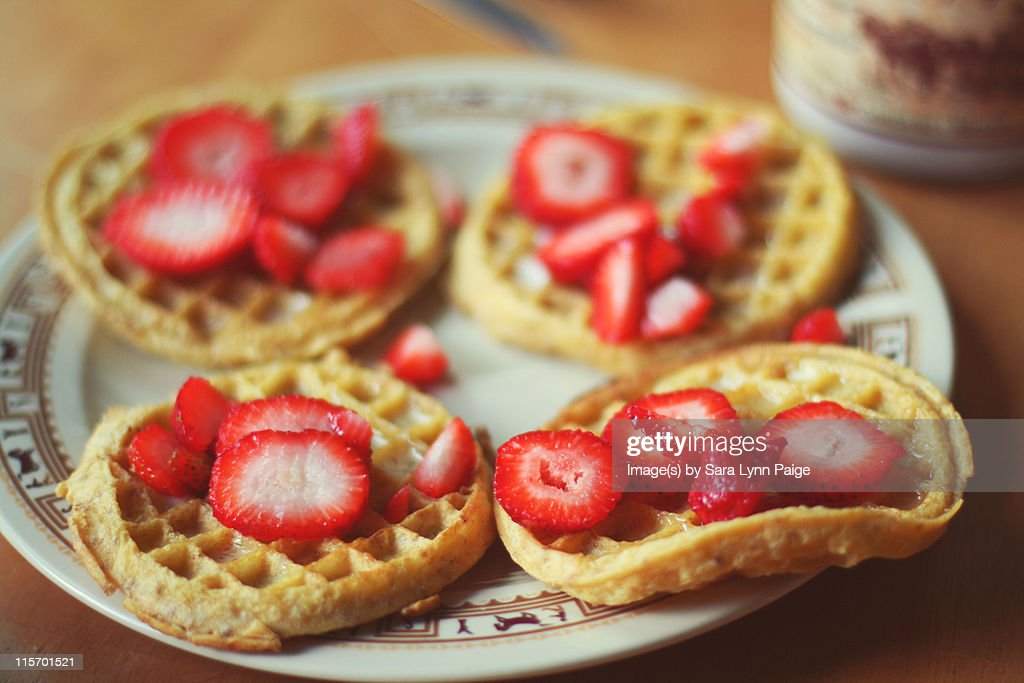 Waffles With Fresh Strawberries : Stock Photo
