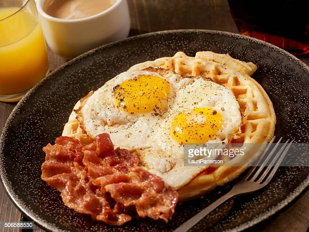 Waffles with Fried Eggs and Bacon