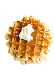 Waffles with golden syrup and butter