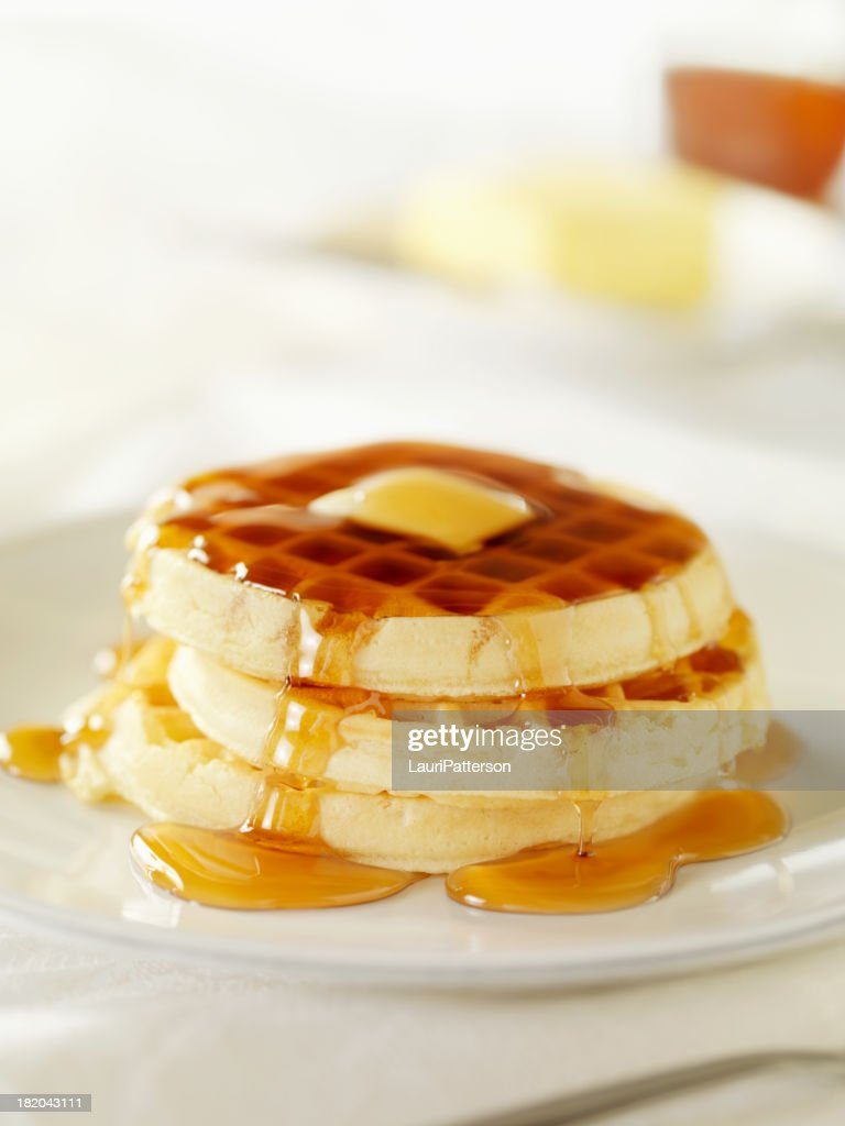 Waffles With Maple Syrup Stock Photo | Getty Images