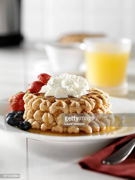 Waffles with Whip Cream and Maple Syrup 2